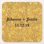 "Gold Faux Glitter Shining Pattern Bling Wedding Square Paper Coaster<br><div class=""desc"">Gold Faux Glitter Shining Pattern Bling</div>"