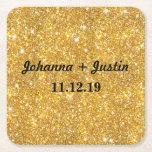 "Gold Faux Glitter Shining Pattern Bling Wedding Square Paper Coaster<br><div class=""desc"">Gold Faux Glitter Shining Pattern Bling</div>"