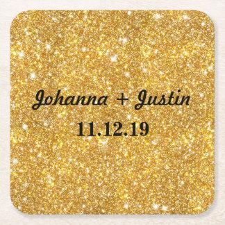 Gold Faux Glitter Shining Pattern Bling Wedding Square Paper Coaster