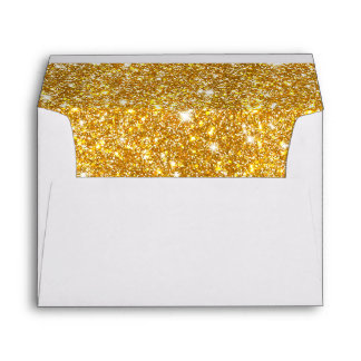 Gold Faux Glitter Shining Pattern Girly Envelope