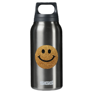 Gold faux glitter smiley face insulated water bottle