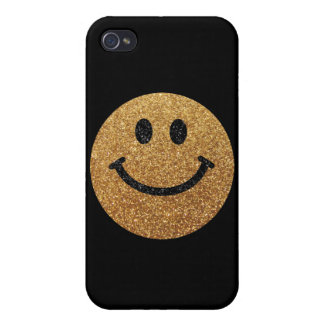 Gold faux glitter smiley face iPhone 4 covers