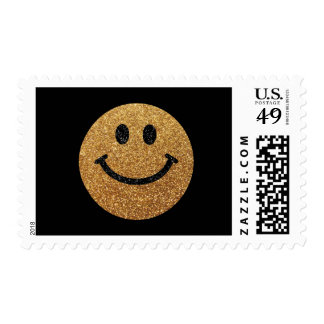 Gold faux glitter smiley face postage