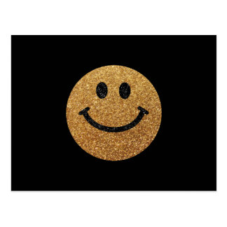 Gold faux glitter smiley face postcards