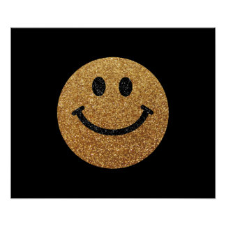 Gold faux glitter smiley face poster