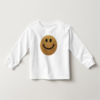 Gold faux glitter smiley face tee shirt