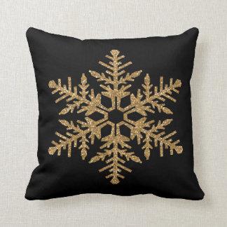 Gold Faux Glitter Snowflake Throw Pillow