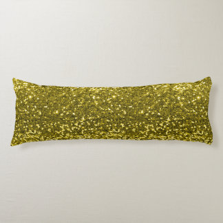 Gold Faux Glitter Sparkle Print Body Pillow