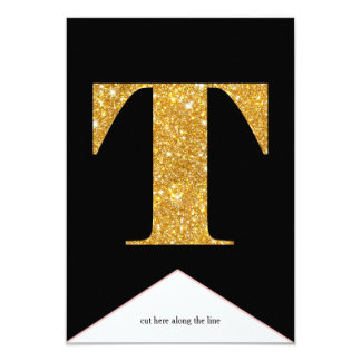 Gold Faux Glitter T Congrats Graduate Banner Card