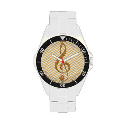Gold Faux Glitter Treble Clef on Yellow Chevron Wrist Watches