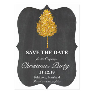 Gold Faux Glitter Tree Chalkboard Christmas Party Postcard