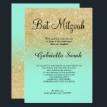 "Gold faux glitter turquoise ombre Bat Mitzvah Invitation<br><div class=""desc"">A modern,  original and simple faux gold glitter ombre Bat Mitzvah invitation on a fully customizable teal turquoise  background</div>"