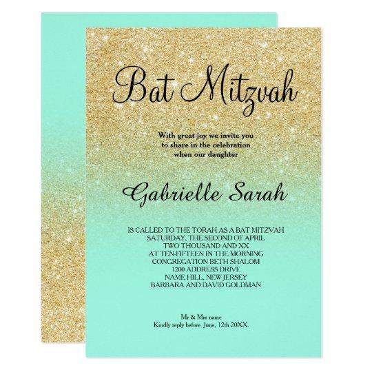 gold faux glitter turquoise ombre bat mitzvah invitation zazzle com