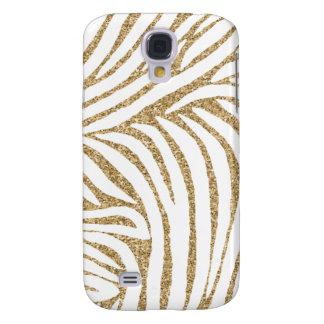 Gold Faux Glitter Zebra Print Galaxy S4 Case