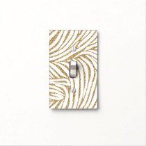 Gold Faux Glitter Zebra Print Light Switch Cover