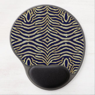 Gold Faux Glitter Zebra Stripes Custom Background Gel Mouse Pad