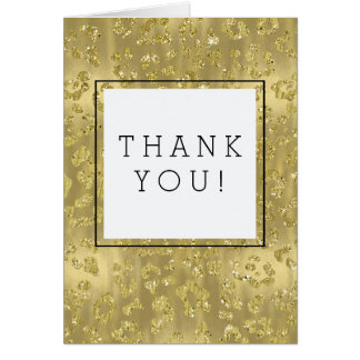 Gold Faux Glittery Leopard Print Thank You Card