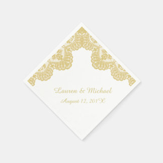 Gold Faux Lace on White Wedding Paper Napkin