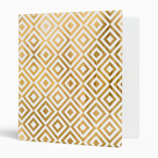 Gold faux leaf modern abstract geometrical pattern 3 ring binder