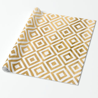 Gold faux leaf modern abstract geometrical pattern wrapping paper