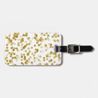 Gold Faux Metallic Dot Bokeh Background Bling Bag Tag