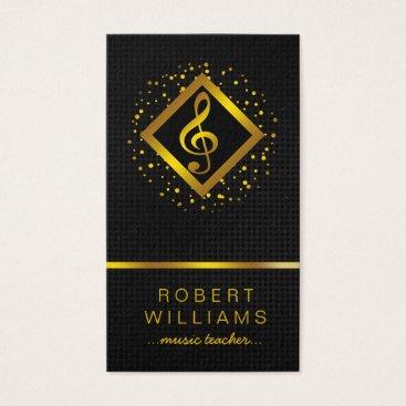 Professional Business Gold Faux Music Teacher Professional Vocalist Business Card