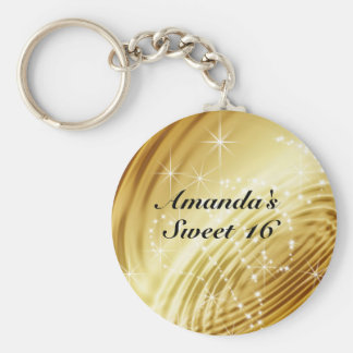 Gold, Faux Satin, Sparkle, Sweet Sixteen Keychain