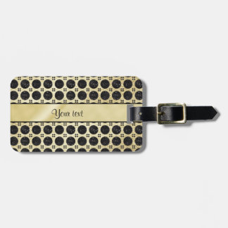 Gold Faux & Sparkly Black Glitter Spots Luggage Tag