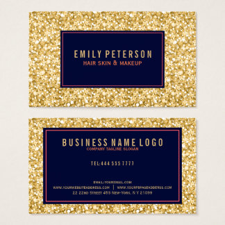 Gold Fax Glitter With Black And Coral Red Accents Business Card