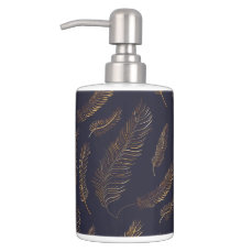 Gold Feather Motif Soap Dispenser And Toothbrush Holder