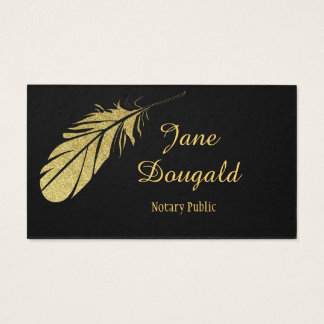 Gold Feather Pen Black Classic Notary Business Card