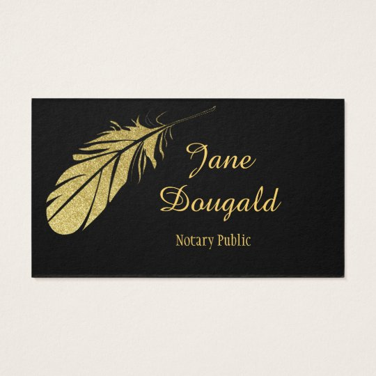 Gold feather pen black classic notary business card zazzle gold feather pen black classic notary business card reheart Choice Image