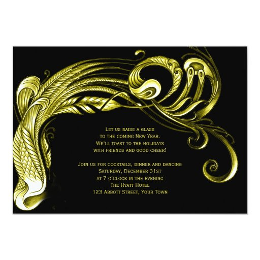 Gold Feather Scroll New Years Eve Party Invitation