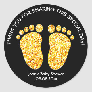 Gold Feet Baby Shower Party Favor Thank You Name Classic Round Sticker