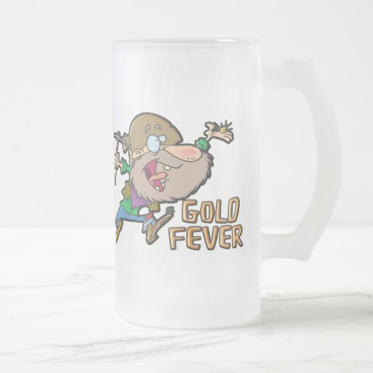 GOLD FEVER FROSTED GLASS BEER MUG