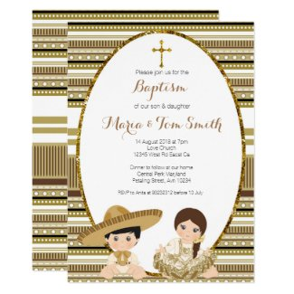 Gold Fiesta Boy & Girl Baptism Christening Invitation