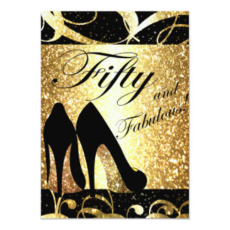 Gold Fifty and Fabulous Womans Birthday Invitation