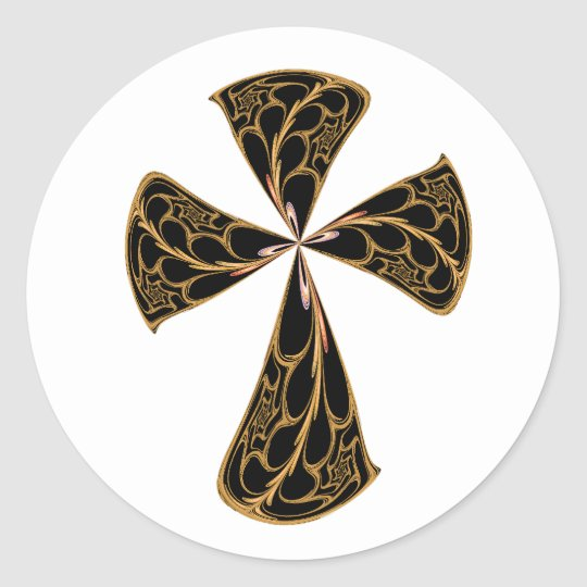 Gold Filigree Cross Classic Round Sticker