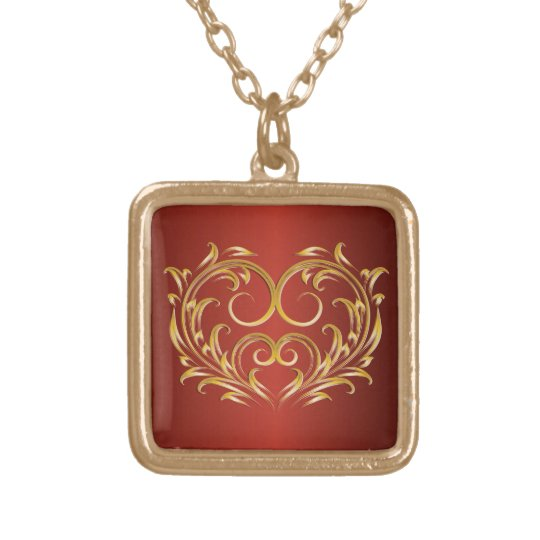 Gold Filigree Heart 3 - Necklace