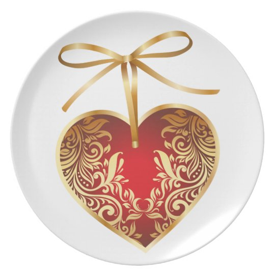 Gold Filigree Heart Dinner Plate