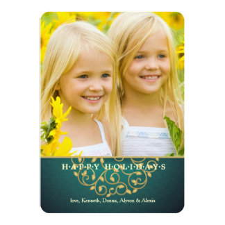 Gold Filigree Holiday Photo Card