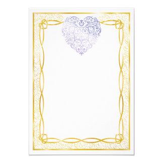 Gold Filigree & Lavender Hearts Blank Valentine 5x7 Paper Invitation Card