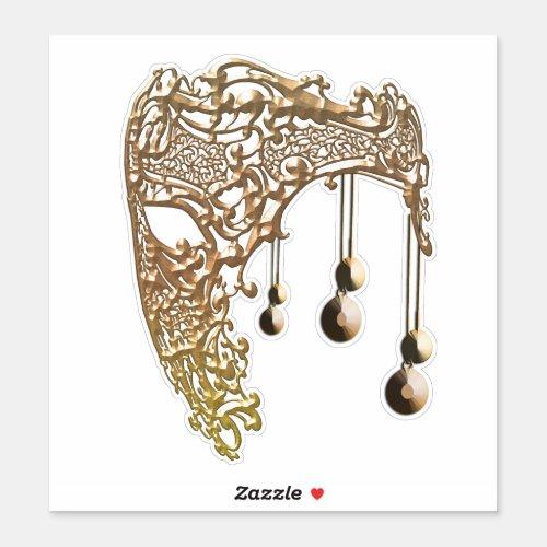 Gold Filigree Mask Mardi Gras masquerade Art Sticker