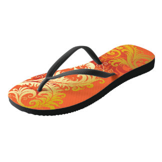 Gold Filigree on Bright Orange Flip Flops