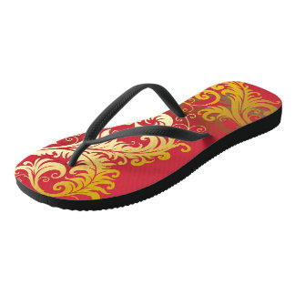 Gold Filigree on Reddish Pink Flip Flops