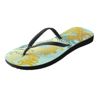 Gold Filigree on Sea Foam Green Flip Flops