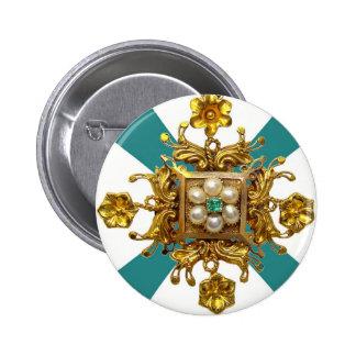 Gold Filigree Pearls Vintage Costume Jewelry Pin