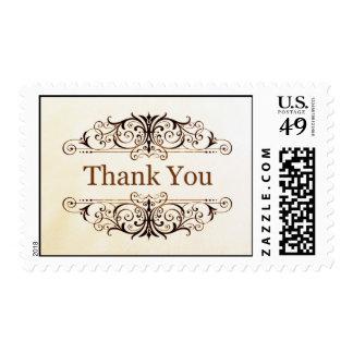 Gold Filigree Thank You Stamp
