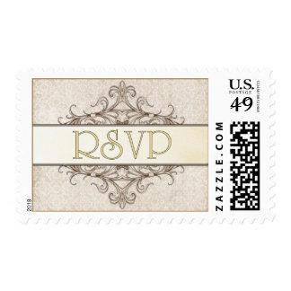 Gold Filigree w. Ivory Lace RSVP Stamp