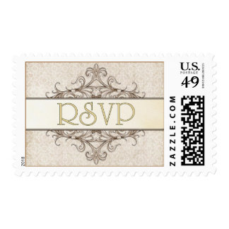 Gold Filigree w. Ivory Lace RSVP Stamp